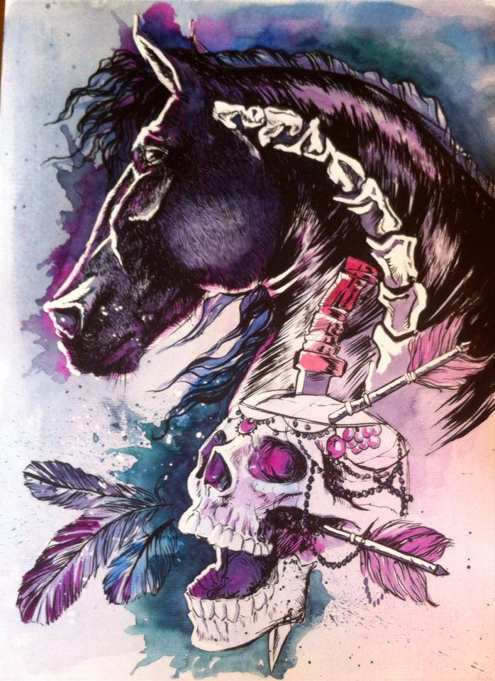 Skull Watercolor Illustrations by Odji (2)