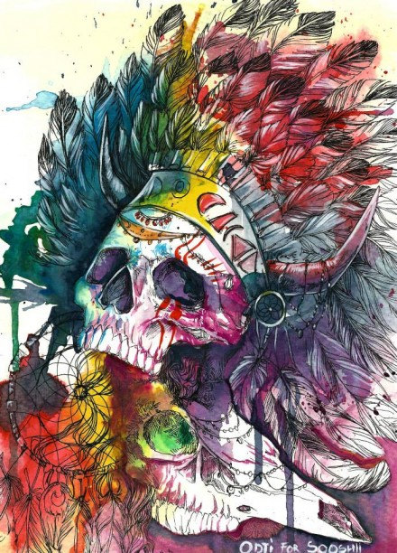 Skull Watercolor Illustrations by Odji