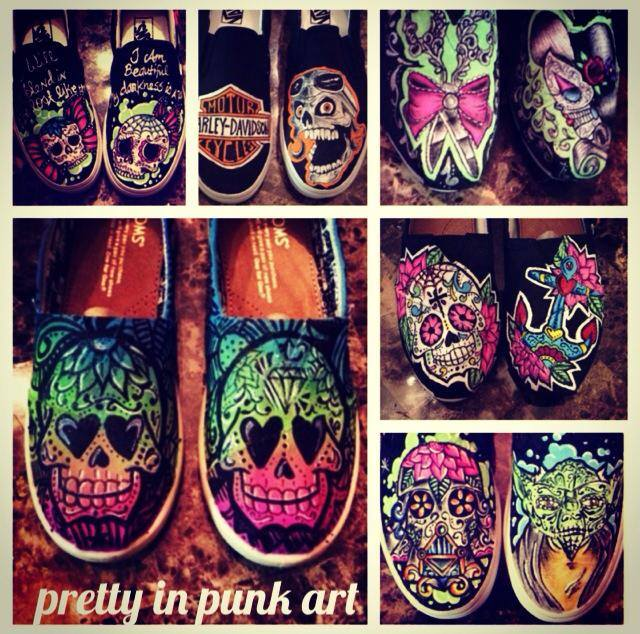 Custom Painted Skull Shoes (2)