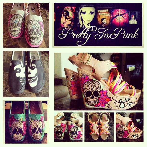 Custom Painted Skull Shoes