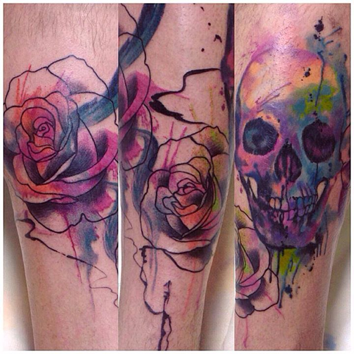 Watercolor skull tattoos by Cassio Magne (2)