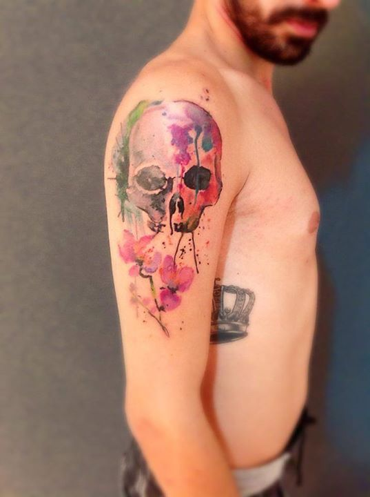skull tattoo by Cassio Magne (2)