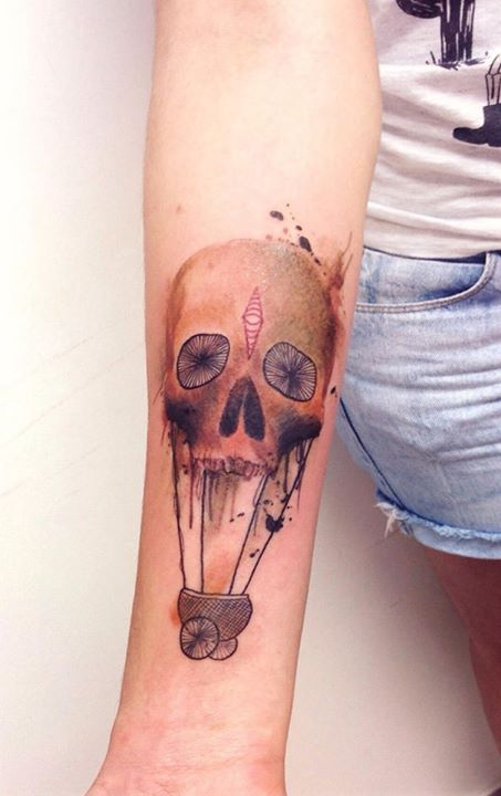 skull tattoo by Cassio Magne (4)