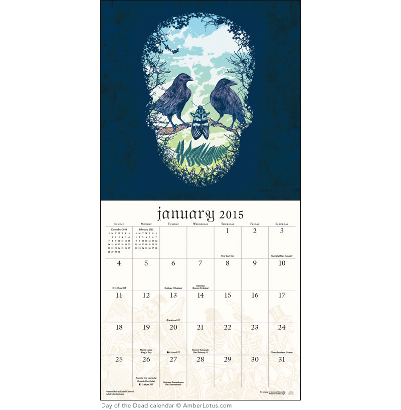 Day of the Dead Sugar Skulls 2015 Wall Calendar (2)