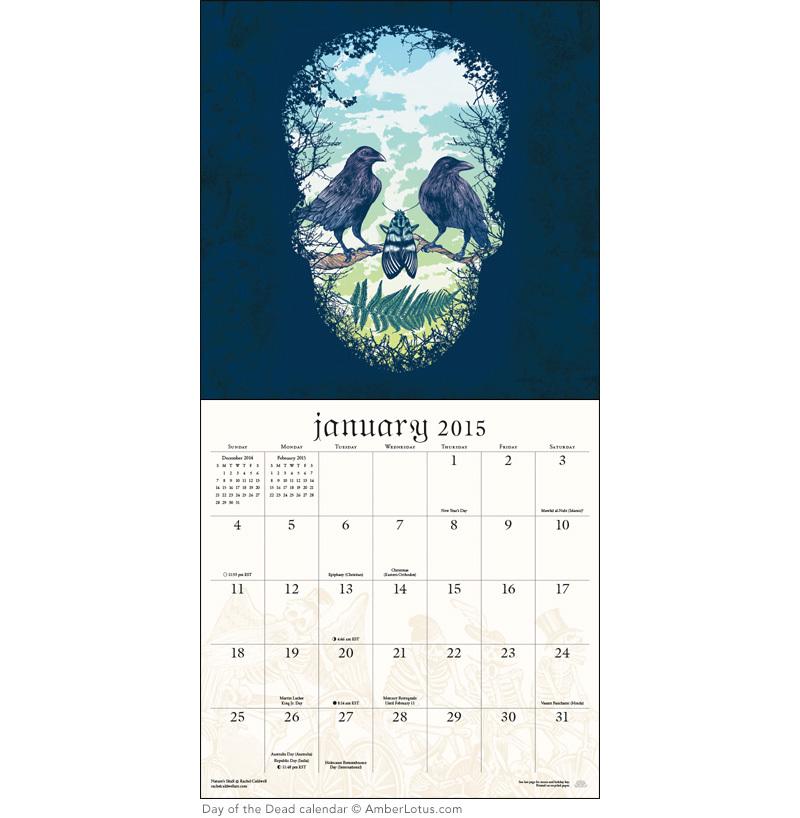 Day of the Dead Sugar Skulls 2015 Wall Calendar (2)