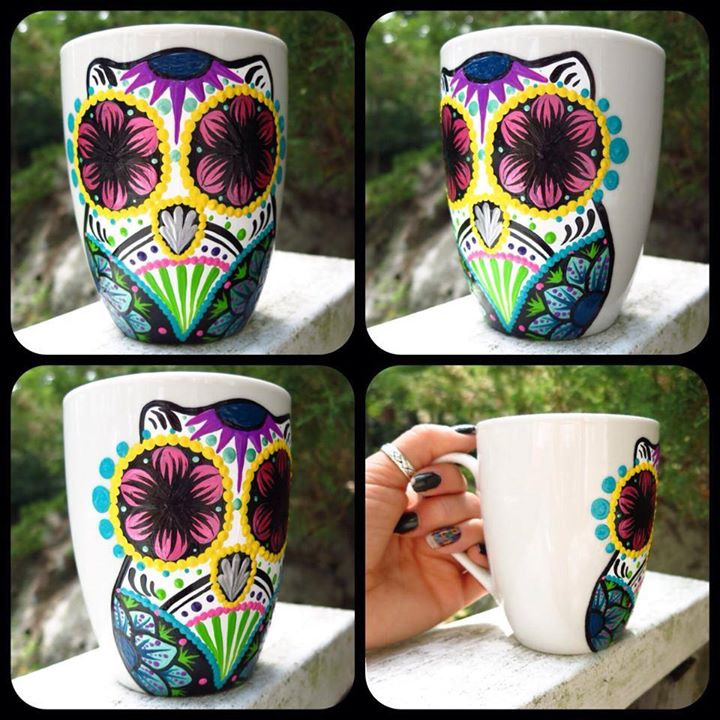 sugar skull owl mug