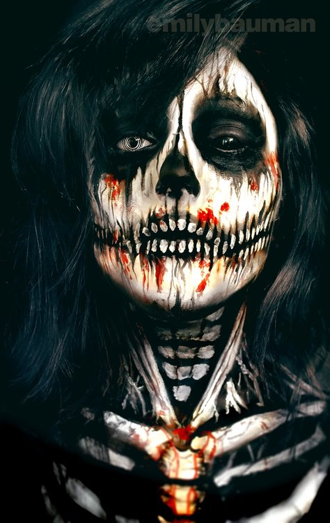 Skeleton Face Painting by Emily Bauman