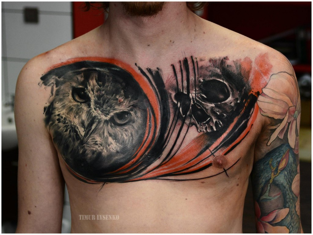 chest tattoo by Timur Lysenko