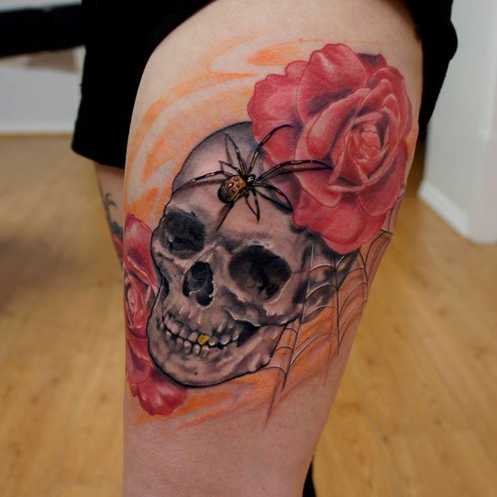 skull and roses tattoo (2)