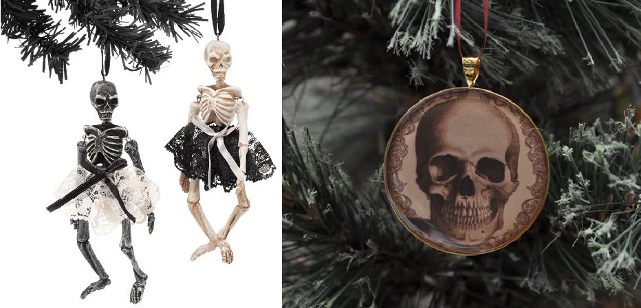 Christmas skull and skeleton decorations