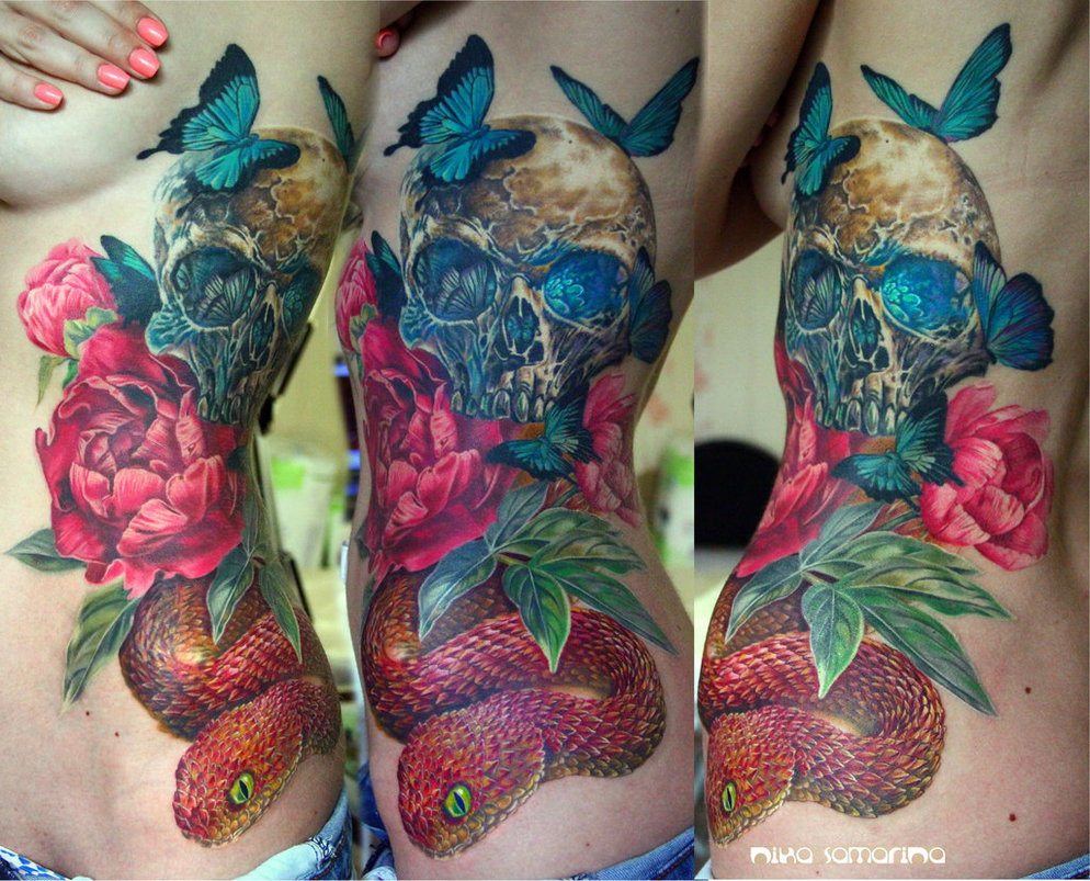 Colorful Skull Tattoos by Nika Samarina (2)