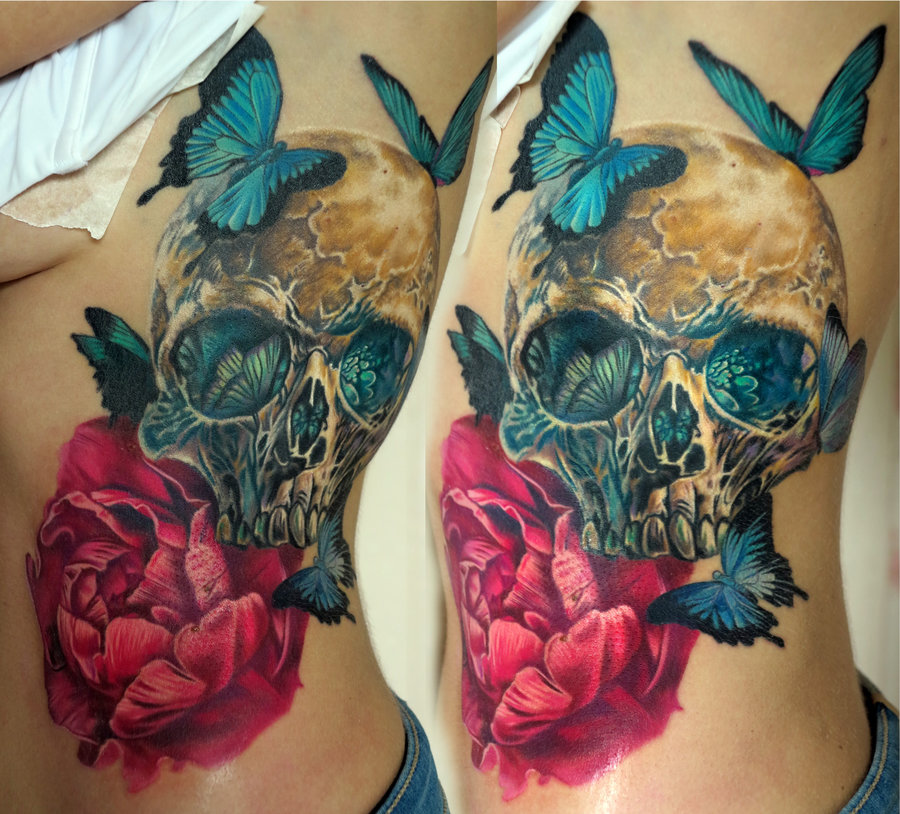 Colorful Skull Tattoos by Nika Samarina