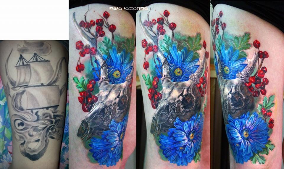 Skull Tattoo by Nika Samarina