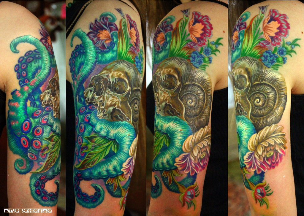 skull tentacles and flowers tattoo by nika samarina