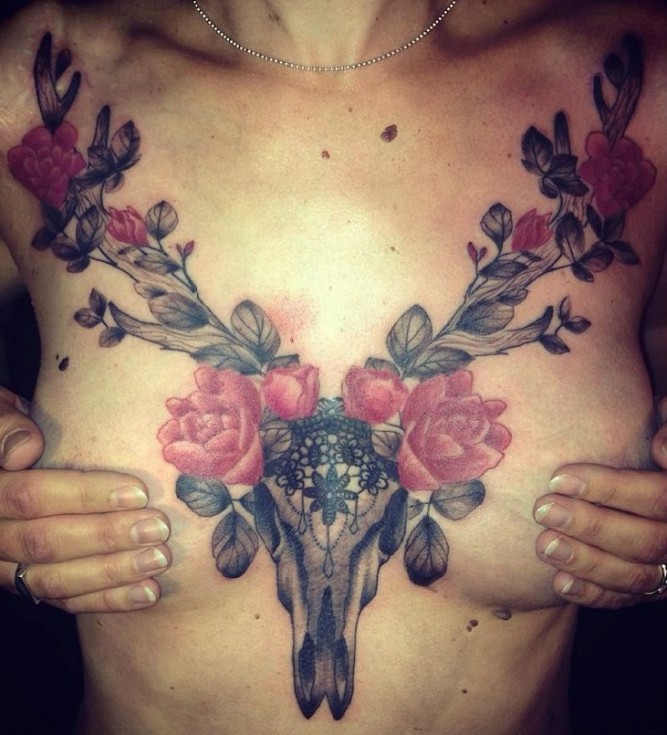 Skull Chest Tattoo by Dodie