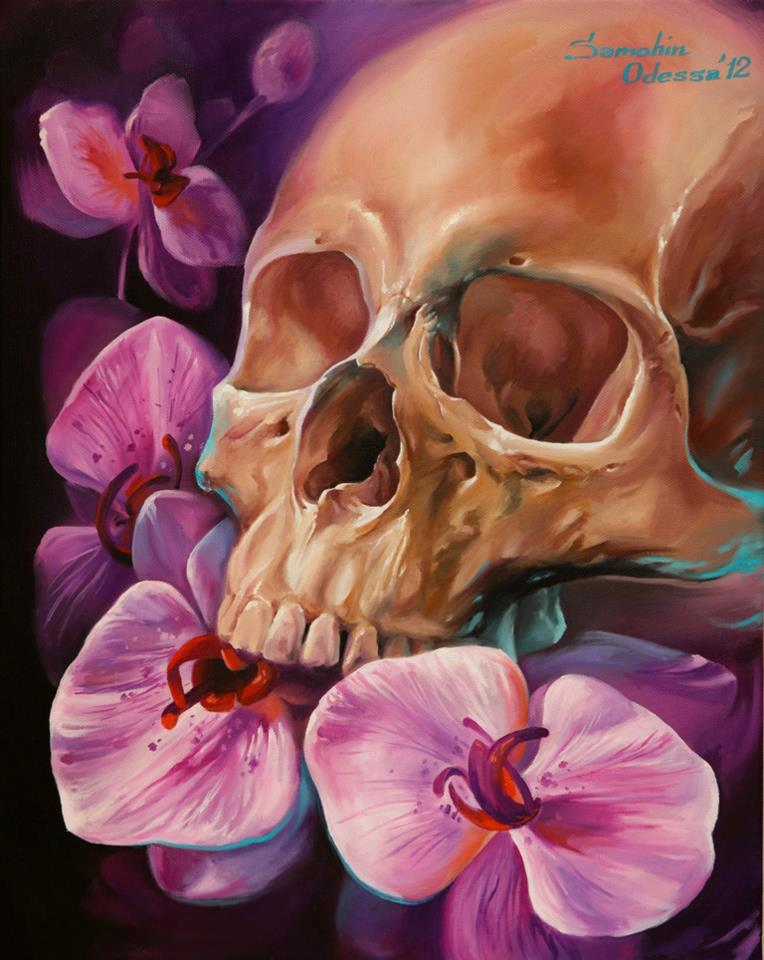Skull paintings by Dmitriy Samohin