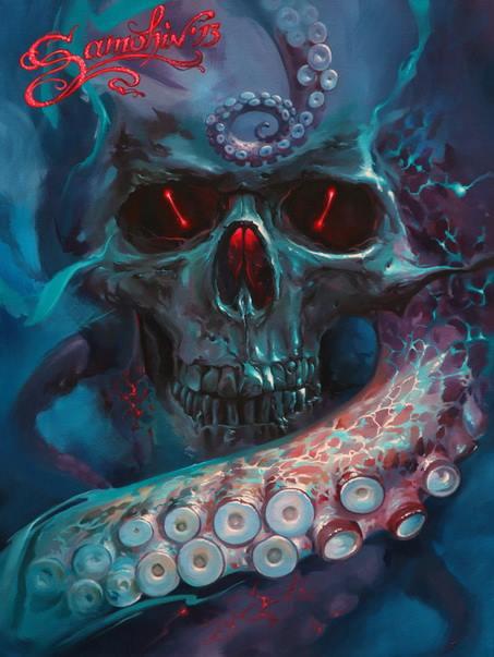 Skull paintings by Dmitriy Samohin