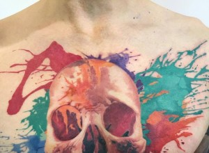 Colorful Skull Tattoo by John Maxx