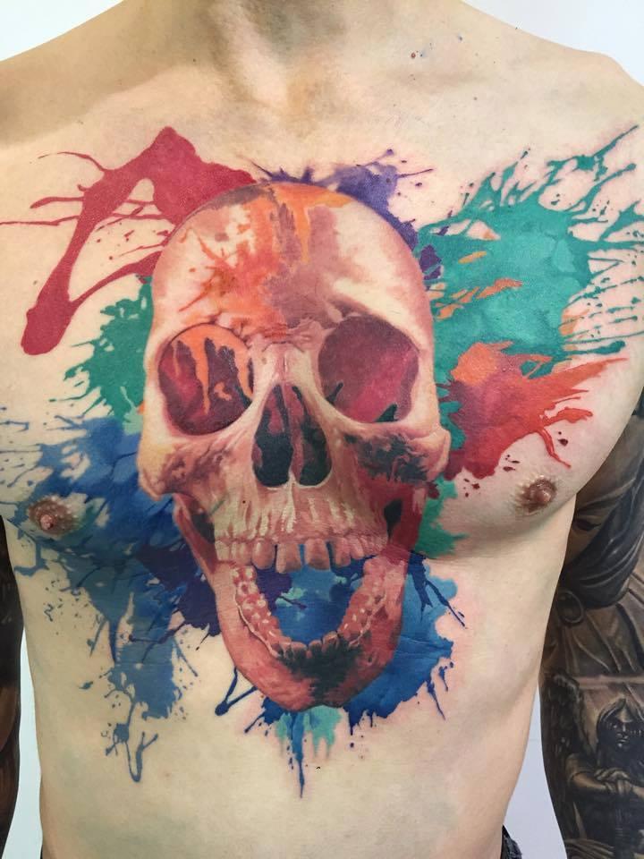 Colorful Skull Tattoo by John Maxx