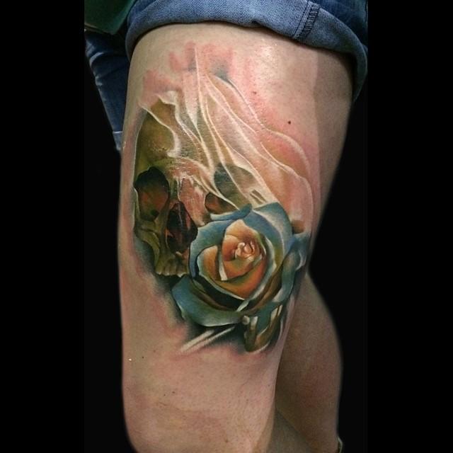 Skull Rose Tattoo Sebastian Nowacki