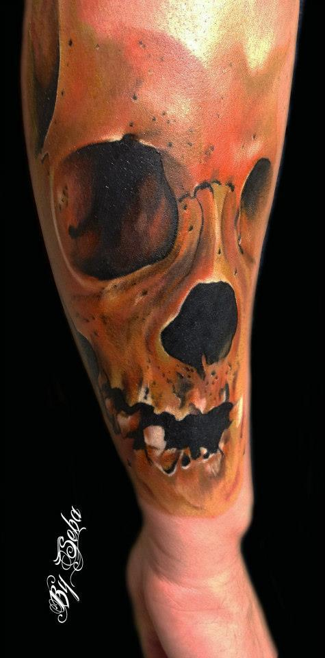 Skull tattoo Sebastian Nowacki