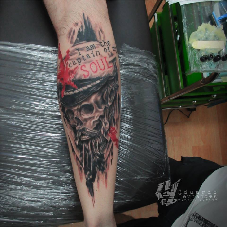 sailor Skull Tattoo by Eduardo Fernandes
