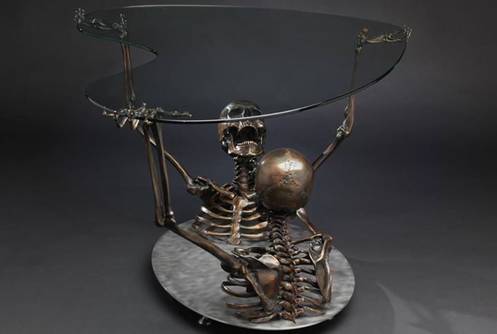 skeleton glass table
