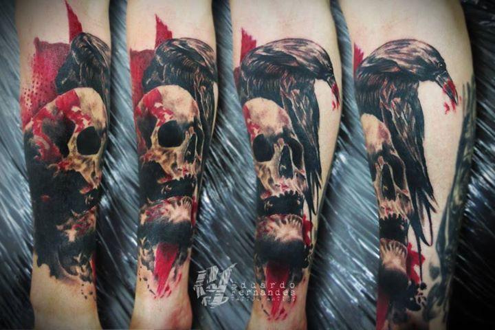 skull and crow tattoo