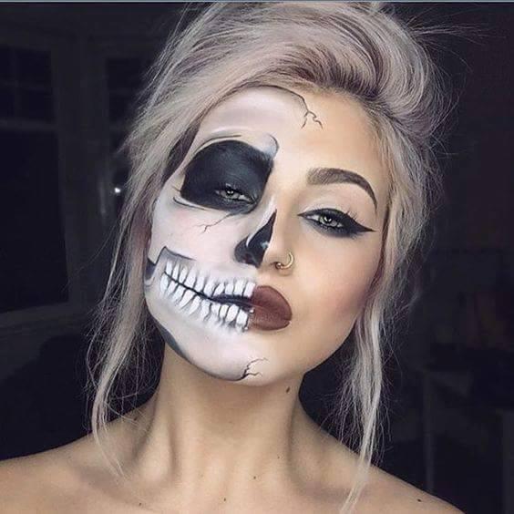 half-skull-face-painting