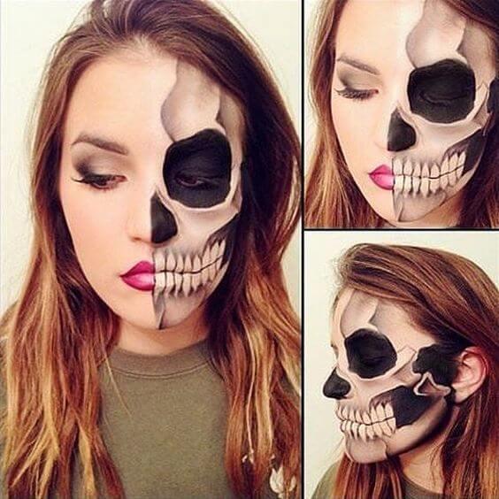 half-skull-makeup-idea
