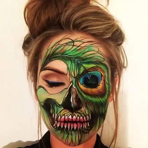 peacock-skull-makeup