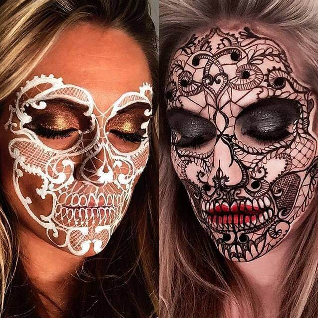 Black & White Lacy Skulls