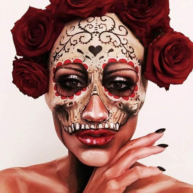 Brian Viveros Rose Skull Makeup