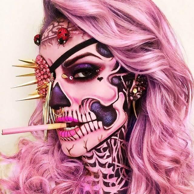 Zombie Girl Skull Makeup