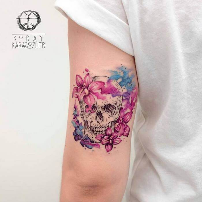 f4f7a546b Amazing Watercolor Skull Tattoos by Koray Karagözler