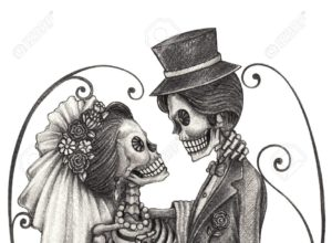 Skull art wedding day of the dead festival